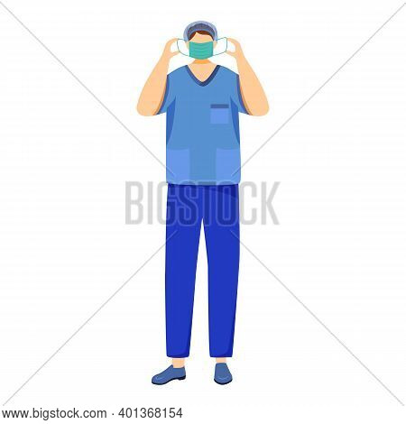 Surgeon Flat Vector Illustration. Doctor In Medical Mask. Physician, Therapist, Medical Worker Carto