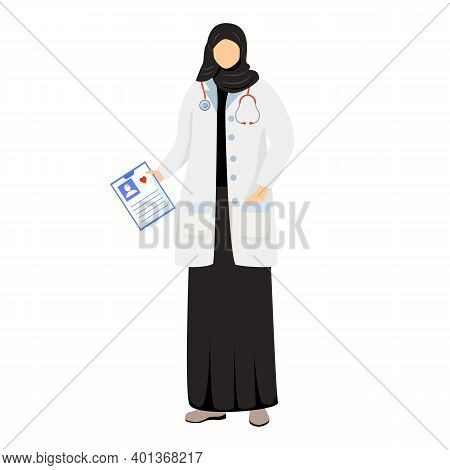Arab Female Doctor Flat Vector Illustration. Saudi Woman In Medical White Coat And Hijab. Muslim Phy