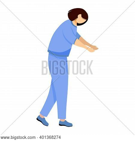 Female Doctor Flat Vector Illustration. General Practitioner, Nurse In Blue Uniform. Therapist, Phys