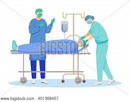 Surgical Operation Flat Vector Illustration. Internal Medicine. Anesthetist And Surgeon With Patient