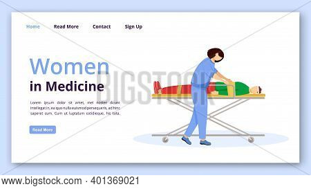 Women In Medicine Landing Page Vector Template. Emergency Doctor Website Interface Idea With Flat Il