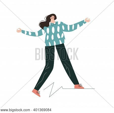 Mental Disorder Concept. Loneliness, Instability, Self-help, Self-care. A Woman Walks On A Shaky Sur