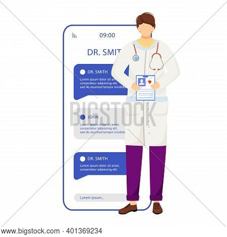 Online Doctor Consultation Smartphone Vector App Screen. Chat With Medical Specialist. Mobile Phone