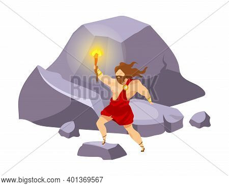 Prometheus Flat Vector Illustration. Divine Hero Stealing Fire. Preolympian Titan With Beacon On Mou