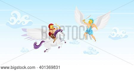 Fighters In Sky Flat Vector Illustration. Warriors Battle. Man Flying On Pegasus. Icarus With Wings.