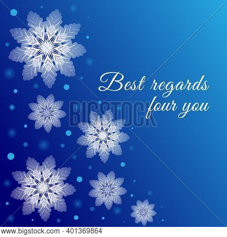 Winter Blue Background With Snowflakes And Glowing Dots. Celebrations Greeting Card. Vector Illustra