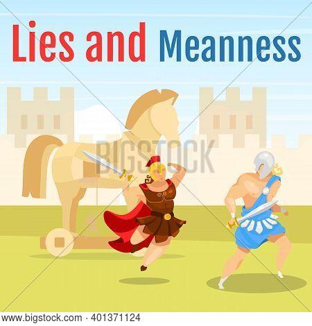 Lies And Meanness Social Media Post Mockup. Greek Mythology. Trojan War. Gladiators Fighting. Web Ba