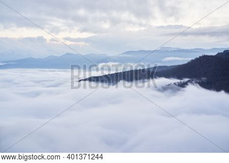 Low Clouds, View Of Winter Forest And Mountains From Observation Deck, Horizontal Picture Of Amazing