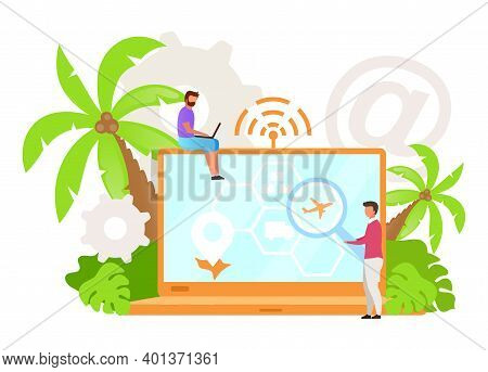 Business Finder Flat Vector Illustration. Constant Availability. Job Hunting Tool. Company Search. R