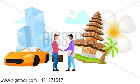 Competent Manager Flat Vector Illustration. Partnership, Cooperation. B2b. Indonesian Business. Comm