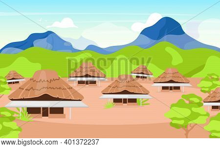 Indonesian Wooden Houses Flat Vector Illustration. Kajang Leko Jambi. Building In Balinese Style. As