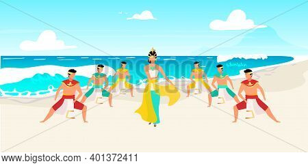 Indonesian Dances Flat Vector Illustration. Traditional Celebration On Ocean Shore. Waterscape. Asia