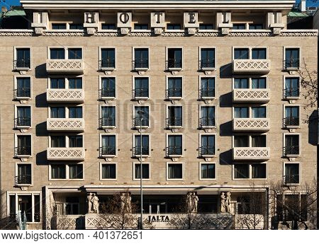 Prague, Czech Republic, 12-30-2020. Jalts Boutique Hotel, One Of The Iconic Hotels In Prague In A Pr