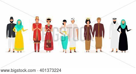 Indonesians Flat Vector Illustrations Set. Indigenous People. Asian Culture. Adult Families. People