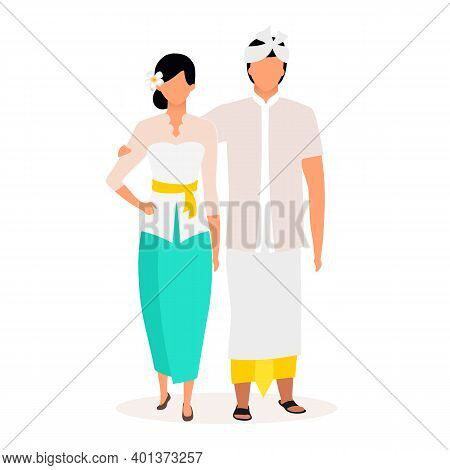Indonesians Flat Vector Illustration. Standing Adult Couple. Greetings. Indigenous People. Asian Cul
