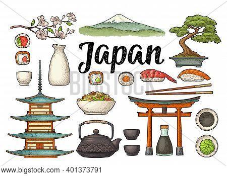Set Japan. Fuji, Pagoda, Sushi, Sakura. Vintage Engraving