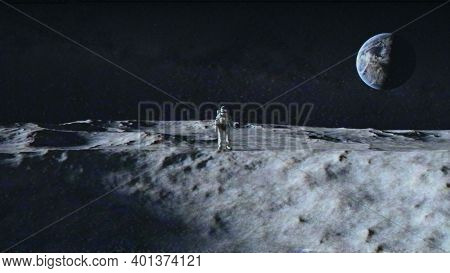 An Astronaut Stands On The Surface Of The Moon Among Craters Against The Backdrop Of The Planet Eart