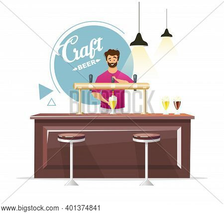 Craft Beer Pub Production Flat Color Vector Illustration. Bartender Pouring Draught, Tap Beer. Barme