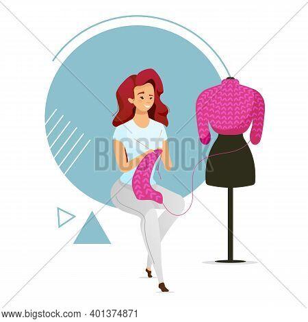 Woman Knitting Sweater Flat Color Vector Illustration. Female Character Creating Garment. Girl Makin