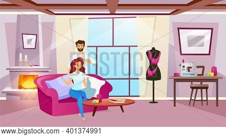 Female Character Sewing In Cosy Room Flat Color Vector Illustration. Woman Making Clothing With Her