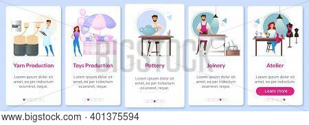 Production Fields Onboarding Mobile App Screen Vector Template. Yarn Making. Pottery. Joinery. Ateli