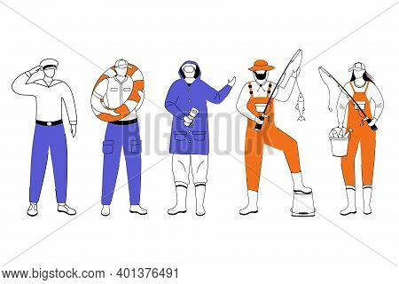 Maritime Professions Flat Vector Illustration. Sailor And Lighthouse Keeper. Marine Occupation. Coas