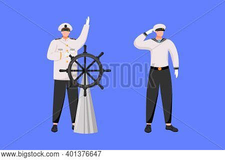 Maritime Professions Flat Vector Illustration. Navigator With Helm. Cruise Liner. Marine Occupation.