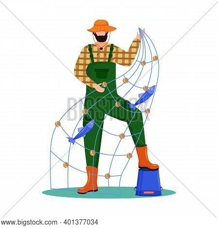 Fisherman Flat Vector Illustration. Sport, Active Leisure. Fishing Fleet. Maritime Occupation. Fishe
