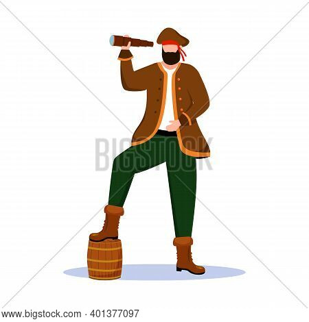 Pirate Flat Vector Illustration. Marine Festival. Clothing Rental. Maritime Costume Ideas. Buccaneer