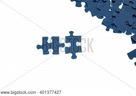 Small Blue Puzzle Pieces On A White Background, Add A Picture From Small Pieces, A Useful Exercise F
