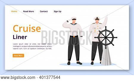 Cruise Liner Landing Page Vector Template. Captain And Sailor Website Interface Idea With Flat Illus