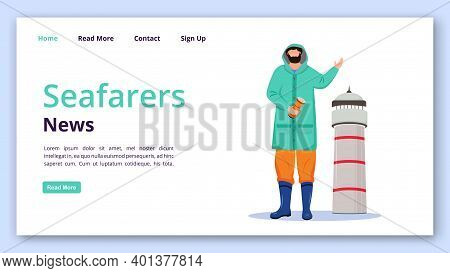 Seafarers News Landing Page Vector Template. Lighthouse Keeper Website Interface Idea With Flat Illu