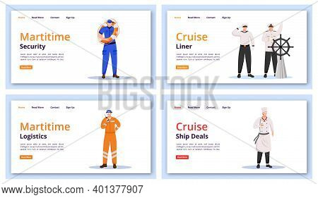 Maritime Characters Landing Page Vector Templates Set. Marine Security Website Interface Idea With F
