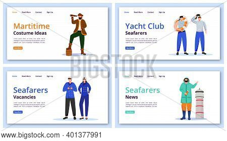 Maritime Characters Landing Page Vector Templates Set. Marine Costumes Website Interface Idea, Flat