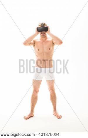 Mens Underwear. Naked Man In Virtual Reality Headset. Vr Headset. Future. Future Technology. Sales A