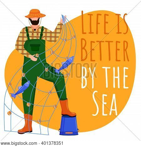 Life Is Better By The Sea Social Media Post Mockup. Fisherman. Maritime Quote. Web Banner Design Tem