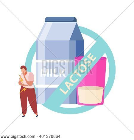 Lactose Gluten Intolerance Diet Composition With Prohibited Dairy Milk Bottle And Glass Vector Illus