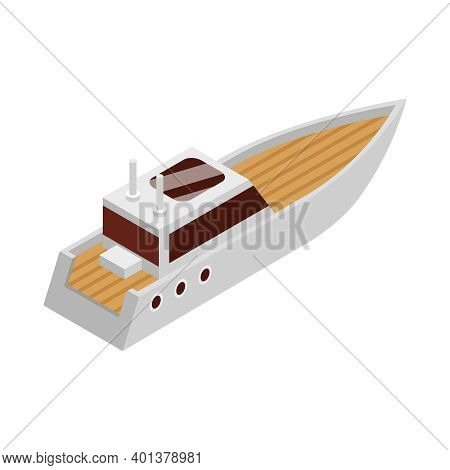 Isometric Yacht Club Composition With Small Modern Cruiser Yacht On Blank Background Vector Illustra
