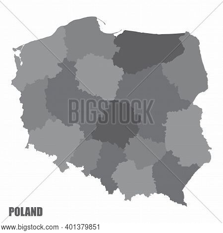 The Poland Isolated Grayscale Map Divided In Administrative Areas