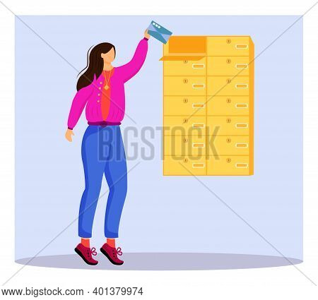 Woman Receives Letter Flat Color Vector Illustration. Getting Post From Mailbox. Delivery Services.