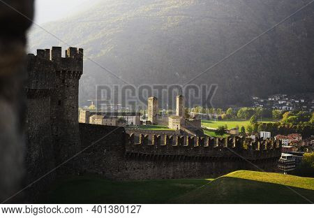 Panoramic View Of Castelgrande Fortification Fortress Middle Ages Castle On Hill In Swiss City Belli