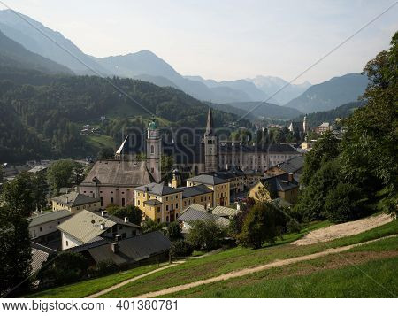 Panoramic View Of Alpine Historic Old City Center Of Berchtesgaden In Alps Mountains Upper Bavaria I