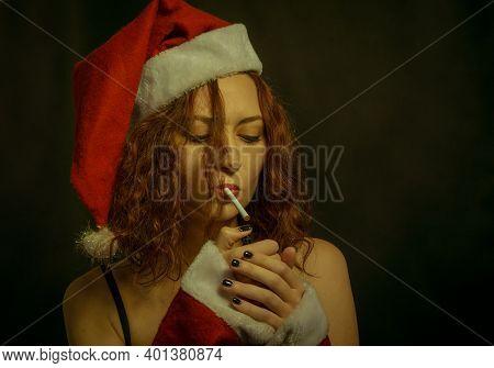Santa's Helper With Cigarette Over Dark Background