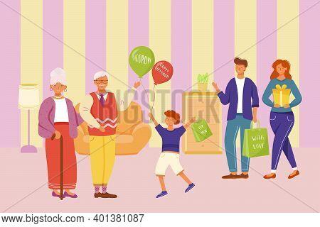 Family Celebration Grandpa Birthday Flat Vector Illustration. Happy Holiday Party. For Granddaddy Wi