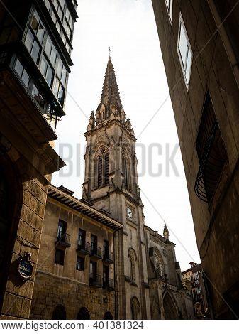 Gothic Roman Catholic Church Bell Tower Of Bilbao Cathedral Donejakue Katedrala In Casco Viejo Distr