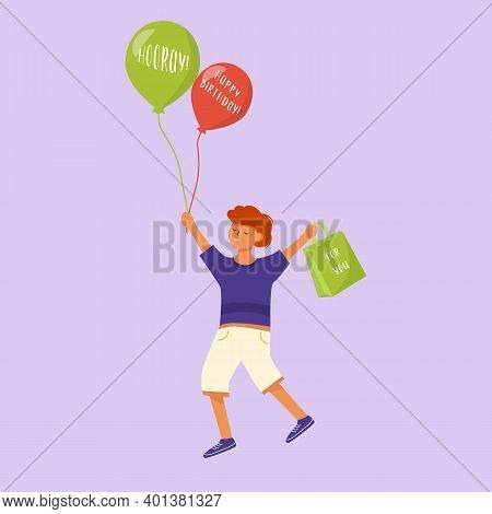 Happy Little Boy Flat Vector Illustration. Cheerful Child Going To Anniversary Celebration. Smiling
