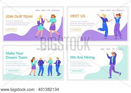 Employee Recruitment Landing Page Vector Templates Set. Join Our Team Website Interface Idea With Fl