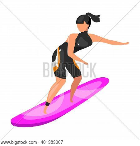 Surfing Flat Vector Illustration. Extreme Sports Experience. Active Lifestyle. Summer Vacation Outdo