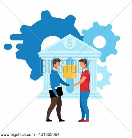 Banking Service Flat Vector Illustration. Customized Solutions Isolated Metaphor. Banker And Investo