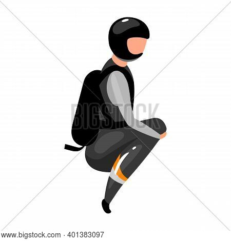Speed Skydiving Flat Vector Illustration. Freefalling, Skydiving, Diving Experience. Extreme Sports.